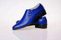 Wholesale Royal blue Leather Shoes men s wedding shoes porm shoes dress shoes