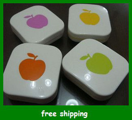 Wholesale sample order Beautiful Apple Contact Lenses Box Colors Storage Set Eyewear Cases Glasses gifts