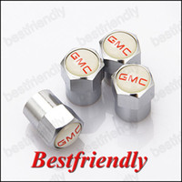 Wholesale GMC Mini Metal Tire Valve Valves Tyre Dust Cap Caps MT Car Badge Emblem Badges