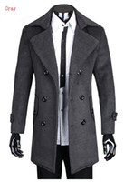 Wholesale Winter Man s Wool Coat Thicken Double Breasted Large Lapel Cashmere Woolen Coats Overcoat