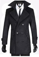 Wholesale Fashionable New Man s Wool Coat Thicken Double Breasted Large Lapel Cashmere Woolen Coats Overcoat