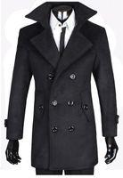 Men s woolen coat Preços-Moda Homem Novo#039;s Casaco de Lã Engrossar Abotoamento Duplo Grande Lapela Cashmere Casacos de Lã Casaco