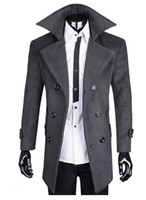 Wholesale Hot Sell Winter Man s Wool Coat Thicken Double Breasted Large Lapel Cashmere Woolen Coats Overcoat