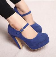 best low heel pumps - Best selling Fashion women s high heels blue matte velvet straps shoes thick heel wedding shoes size