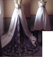 Wholesale Perfect White and purple mix strapess Wedding Dresses with appliques and beadings A line JH131912