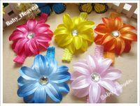Hair Bows band lilies - 30pcs Sample Baby Lilies Flower Hair Bows Elastic Hair band Lace Headband Kids Flower Band