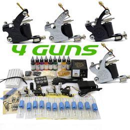 Wholesale Complete Guns colors ml bottle pigment ink needles tattoo machine gun kit set power with Plug