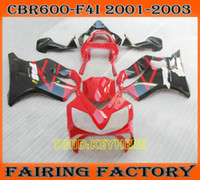 RED black custom fairing kit for 2002 2003 Honda CBR600 F4i ...