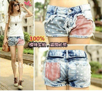 Wholesale jeans LJ Price Fashion Stars Stripes US Flag Classical Summer Denim shorts hot s s Free Ship