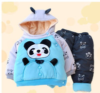Wholesale new baby clothing set children thick cotton outfits coat with hooded boy outwear baby garment