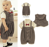 Wholesale Popular baby suit Stripe vest baby romper with bowknot Popular New Arriver