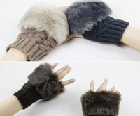 Wholesale 10pairs cm Length Mixed Colors Weave Fur Like Warm Glove Mitten Freeshipping