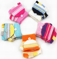 Wholesale Children stripe wool knitted gloves baby warm renovate mittens glove DP21023H