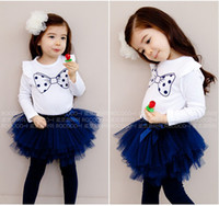 Wholesale Popular baby girl suit White blouse with bowknot pattern yarn skirt Autumn new design