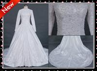 Wholesale 2012 New Style Custom Made Modern Satin Embroider Modest Long Sleeves Wedding Dress