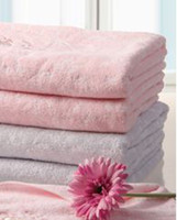Wholesale bath towel cotton shower towel absorbent and soft bath towel color pink and gray cm