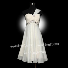 Wholesale Sexy white chiffon one shoulder Cocktail Dresses Beading Sequins Homecoming Gowns Party Dress