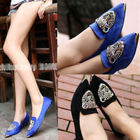 Wholesale New Arrivals Retro Flat Shoes Slip on Leopard Head Ballet Flats Women Lady