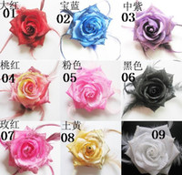 Wholesale Mixed Order cm Artificial Silk Flower Feather Brooch Headwear Rubber Band Backside Colours