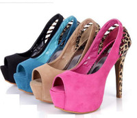 Wholesale Size Cheap Pumps Heels Fashion Animal Prints Leopard Pink Peep Toe Platform Heels Wedding Shoes