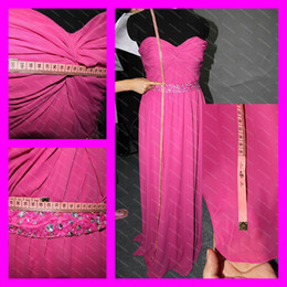 Wholesale 2012 Actual Images Sweetheart Neckline Shiny Beads Sequins Fuchsia Evening Dresses Celebrity Gowns