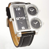 Fashion adventure watch - HOT Oulm Adventure Multi Function Black Leather Watch Men with Movt Square Shaped