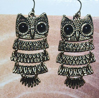 Wholesale 12pcs VINTAGE RETRO CRAVED HOLLOW OWL BLACK EYE STUD EARRING FOR LUCKY WOMEN CHRISTMAS GIFT F amp S