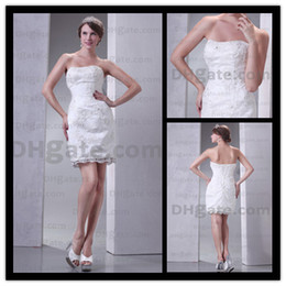 Wholesale Classy Short Wedding Dresses Sheath Slim Strapless Ruched Lace Beads Bridal Gown Actual Images