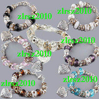 Wholesale Mixed Seven Colors European Style Charm Glass Crystal Bead Bracelet Sterling Silver
