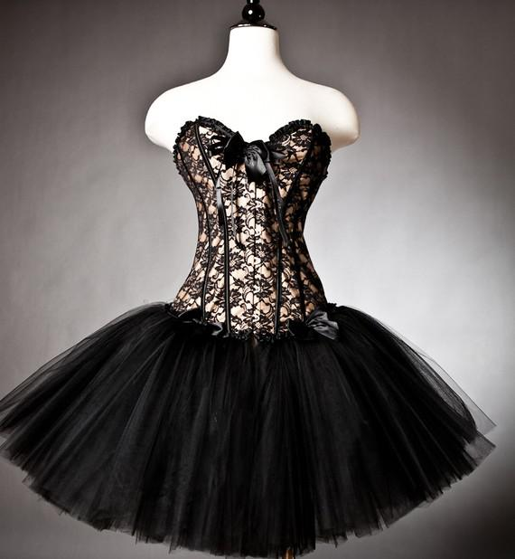 Unique Black And Gold Lace Burlesque Corset Prom Dress With Tulle ...