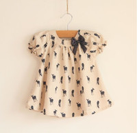 Wholesale New fashion Girls T Shirt Kids TOPS short sleeve Blouse deer fawn pattern Children clothing outfit
