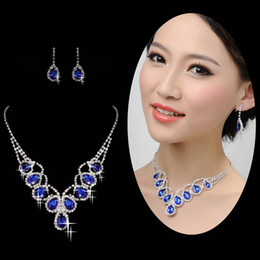 Wholesale Brilliantly Radiant Sapphire In Stock Bridal Necklace And New Arrival Bridal Earrings