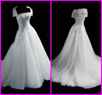 Wholesale 2012 Custom Made Princess Style Strapless Neck with Cape Applique Tulle Winter Wedding Dresses Gowns