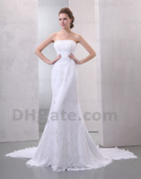 Actual Images wedding dresses 2011 - 2011 hottest sell strapless beaded empire waist chiffon sheath wedding gown wedding dress CL