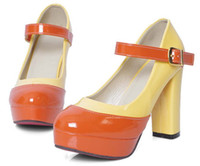Wholesale 2012 European and American retro low shoes thick with high heels buckle patent leather black and red