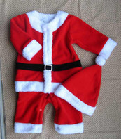 Wholesale Winter Infant Baby Christmas Romper Set Christmas Hat Romper Clthes Sets Free Ship