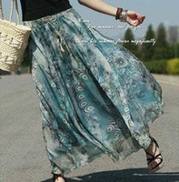 Wholesale Europe style lady bohemian bust long skirt Women s silk fabrics long dress lady peacoc