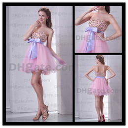 Wholesale Lovely Pink Homecoming Dresses Empire Ruched Organza Beads Sweetheart Party Gown Actual Images