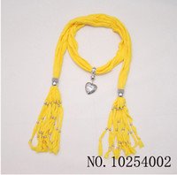 Wholesale Yellow Scarf jewelry Pendant necklace Popular womens Soft scarves Jewellery Mix Colors Hellosport86