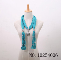 Wholesale Scarf jewelry Pendant necklace Fashion womens Soft scarves Jewellery Mix design Mix Colors Free Ship