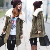 Casual big lambs - Hot Womens Fashion Big Turndown Lambs Wool Long Tops Cotton padded Jacket Outwear Coat Army green