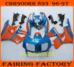 Blue orange custom moto fairing for Honda CBR900RR 893 1996 1997 CBR 900RR CBR893 96 97 fairings set