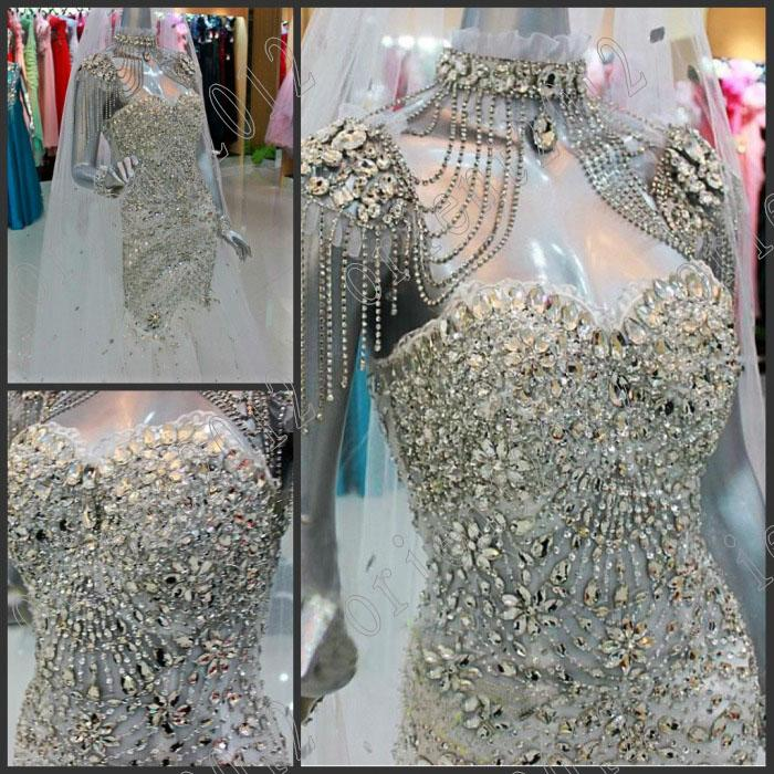 2013 mermaid glamorous crystals beads sexy evening dress