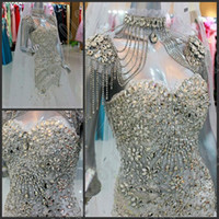 Sweetheart actual wedding - 2013 Mermaid Glamorous Crystals Beads Sexy Evening dress Wedding Gowns Prom Dresses Actual Images
