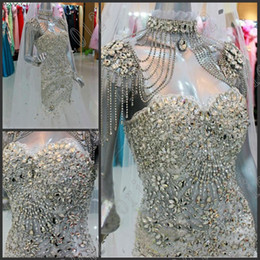 Wholesale Plus Size Bridal Gowns Sexy Mermaid Glamorous Crystals Beads Sexy Wedding Gowns Actual Images Vestidos De Novia