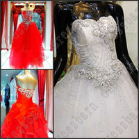 Wholesale Gorgeous Ball Gown Crystals Pearls Sexy Red Wedding Gowns Wedding Dresses bride dress NEW Custom Made
