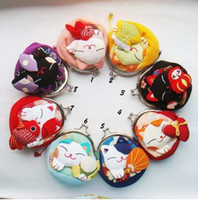 Wholesale Japanese Lucky cat purse wallet kimono fabric cartoon coin purse key bag handbag bags Xmas Gift