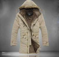 Wholesale Hot new men s Jacket coats Hooded Faux Fur collar coat Thickening plus velvet coats Outwear