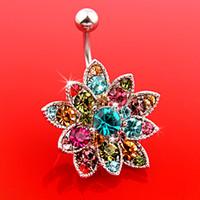 Alloy bell flowers - 26PCS Gem Flower Body Crystal Navel Belly Button Bar Piercing