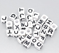 Wholesale MIC White Cube Alphabet Letter Acrylic Spacer Beads x7mm